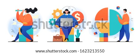 Business Strategy research illustrations. Concept Illustration of a different businessman making research and analize. Perfect for web design, banner, mobile app, landing page. Vector