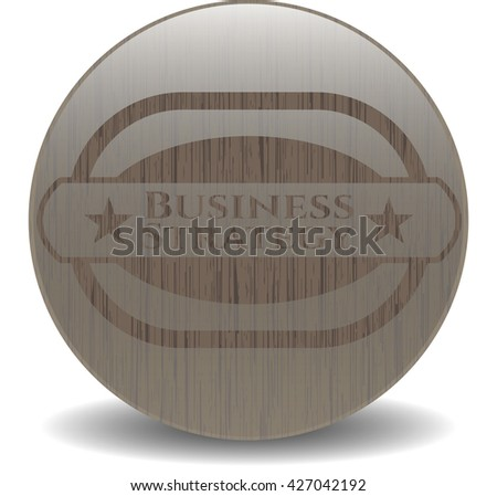 Business Strategy retro style wooden emblem