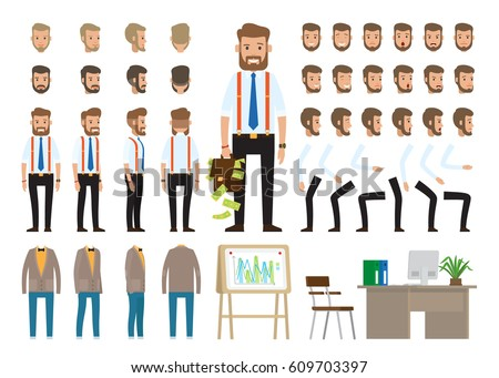 Business style create your character vector poster on white. Banner of male worker full length portraits, face emotions, skin colors and types, hair styles, suits, board with charts and workplace