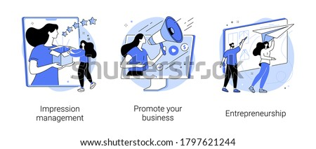 Business success abstract concept vector illustration set. Impression management, promote your business, entrepreneurship, personal brand strategy, social interaction and influence abstract metaphor.