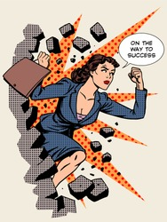 Business success, businesswoman breaks the wall. Retro style pop art