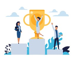 Business success. Cartoon people standing on winner stepped pedestal. Leadership concept. Characters achieve victory in competition. Happy workers with golden cup. Vector rewarding office employees