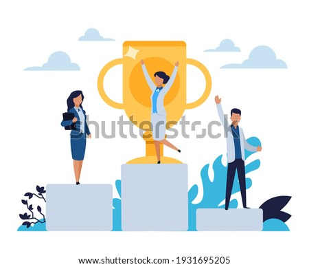 Business success. Cartoon people standing on winner stepped pedestal. Leadership concept. Characters achieve victory in competition. Happy workers with golden cup. Vector rewarding office employees Сток-фото ©