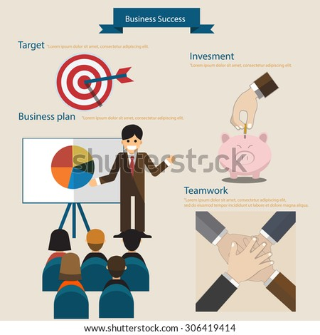 Business success concept infographics . flat design . Vector illustration .