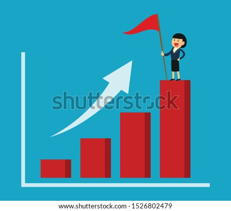 business success concept. success businesswoman holding flag on growing graph.
