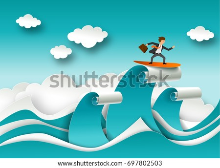 Business success concept vector poster in paper art origami style. Businessman surfing on a top of the wave. Sea waves and clouds paper cut.