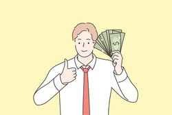 Business, success, goal achievement, wealth, money concept. Young happy smiling businessman clerk manager standing with cash dollar fan and showing like sign. Reaching purposes and currency profit.