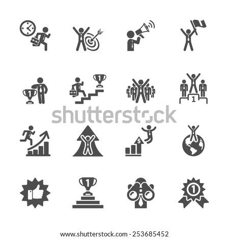 business success icon set, vector eps10.