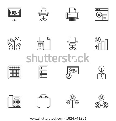 Business success line icons set, outline vector symbol collection, linear style pictogram pack. Signs, logo illustration. Set includes icons as business chart presentation, office chair, teamwork Photo stock ©