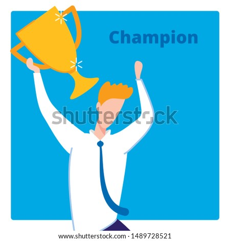 Business Success, Man Worker Flat Cartoon Banner Vector illustration. Person Holding Trophy or Cup for Successful Projects, Reaching Goal, Winning Competition. Champion with Award. Manager.