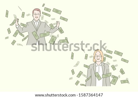 Business success, profitable deal concept. Businesspeople and cash notes, entrepreneurs and money, successful project, progress, smiling man and woman in formal suits. Simple flat vector