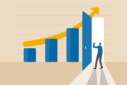 Business success secret, idea to growing business and achieve target concept, smart businessman open the door on high profit bar graph and rising arrow chart to enter and see how to improve.