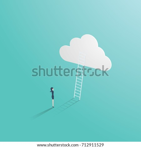 Business success vector concept with businessman standing in front of ladder leading up to the cloud. Symbol of career opportunity, ambition, corporate ladder and growth. Eps10 vector illustration.