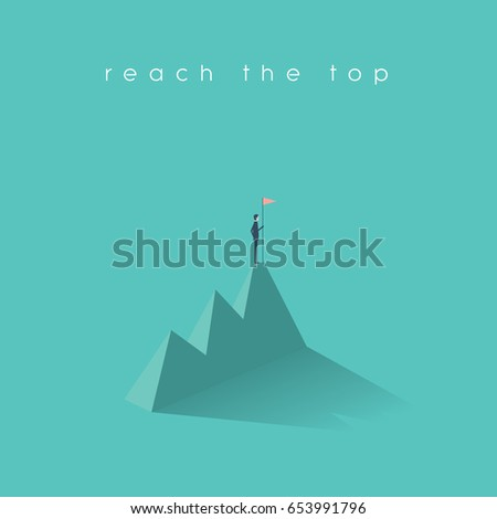Business success vector concept with businessman standing on top of mountain with flag. Eps10 vector illustration.