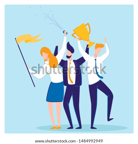 Business Success, Woman and Men Workers Flat Cartoon Banner Vector illustration. People Holding Trophy and Confetti for Successful Projects, Reaching Goal, Winning Competition. Teamwork in Company.