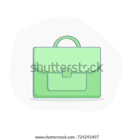 Business Suitcase icon illustration, flat green outline case vector icon on white background. Concept of Brief, Case, Handle Bag, Portfolio, Financial Documents Storage. Flat outline design.