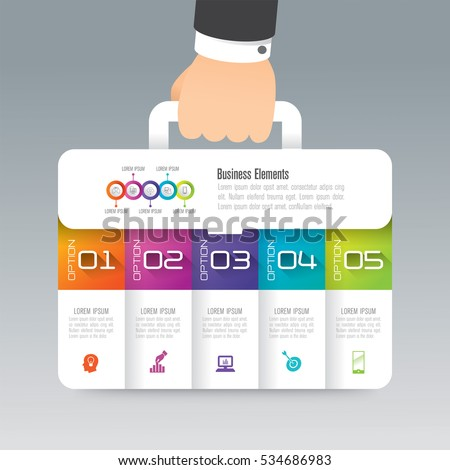 Business suitcase infographic design vector and marketing icons can be used for workflow layout, diagram, annual report, web design. Business concept with 5 options, steps or processes.