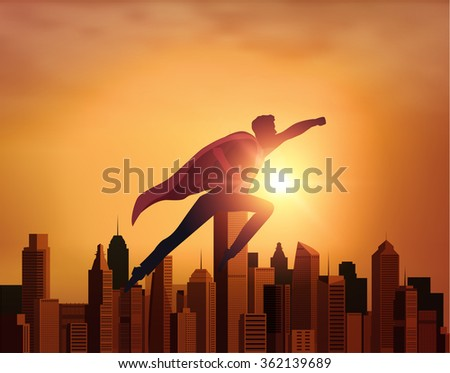 Business Superhero with city