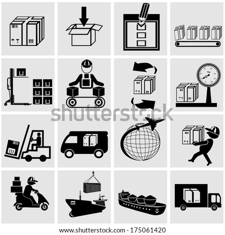 Business Supply Chain Shipping Shopping And Industry Vector Icons Set