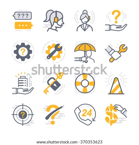 Business Support icons. Included the icons as customer services, help desk, operator, security, privacy, assistant and more.
