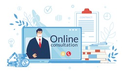 Business Support Online Consultation on Quarantine. Virtual Assistant, Lawyer, Entrepreneur Consultant in Protective Facemask Hold Folder on Laptop Screen. Coin, Contract Signing. Covid19 Outbreak