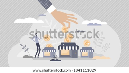 Business support with financial money help in crisis tiny person concept. Potential bankruptcy overcome with subsidy or grant from partners or government vector illustration. Businessman protection.
