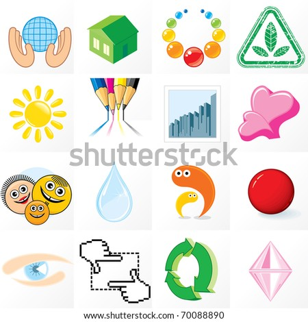 Business symbols, logos, emblems, icons and design elements. Vector abstract clip art