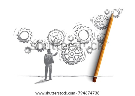Business system concept. Hand drawn manager builds a business system with gear. Teamwork isolated vector illustration.