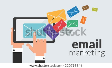 Business tablet computer with email marketing Vector concept for online advertising