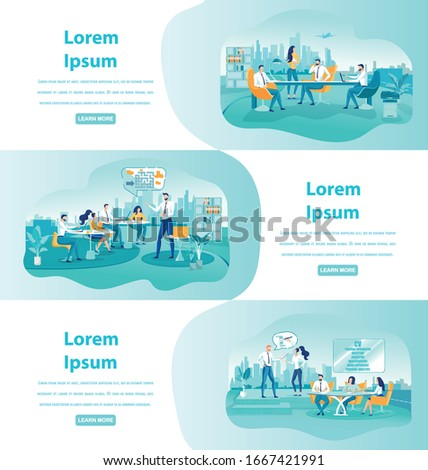 Business Talk with Colleagues in Office. Trainees Learning to Solve Complicated Tasks as Team. Creating Effective CV with Professional Coach. Three Horizontal Banners with Copy Space for Extra Text. Stock photo ©