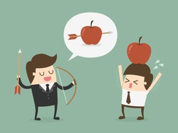 Business target concept. Businessman shooting an apple on top of colleague