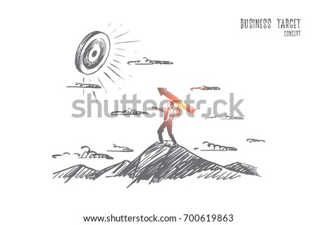 Business target concept. Hand drawn man achieving great goals. Target and man with an arrow isolated vector illustration.