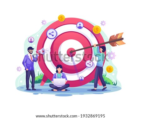 Business target concept, Referral, and affiliate partnership program with People put darts on the dartboard. target with an arrow hit the target. vector illustration