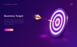 Business target isometric concept vector illustration. Round dart board with arrow flying to bullseye. Symbolic goals achievement, success and competitors victory on ultraviolet webpage background