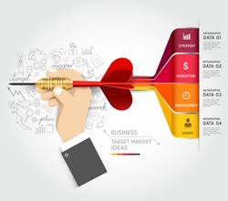 Business target marketing concept. Businessman hand with dart and doodles icons. Can be used for workflow layout, banner, diagram, web design, infographic template.