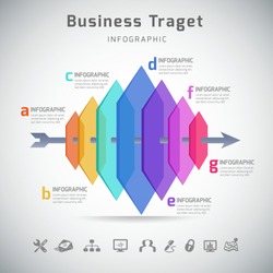 Business target presentation infographic with icon - vector