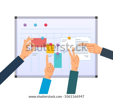 Business task planning, teamwork and solutions, multitasking, business planning, time and work control, project management, assignment of tasks among employees. Scrum methodology task board vector