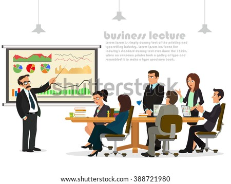 business teacher giving lecture or presentation to a group of employees. People at the presentation.