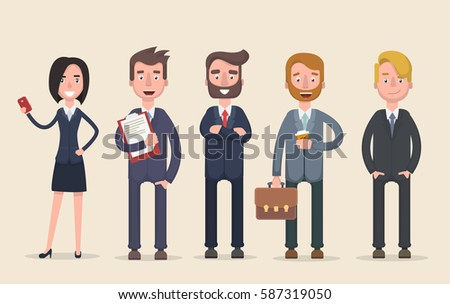 Business team. A group of people dressed in strict suit. Vector illustration in a flat style