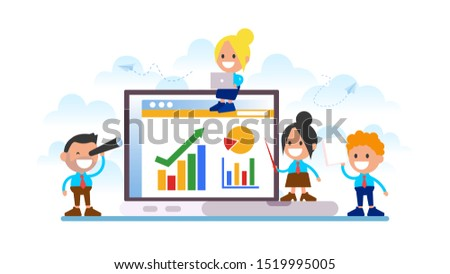 Business team analyzing statistics in computer.