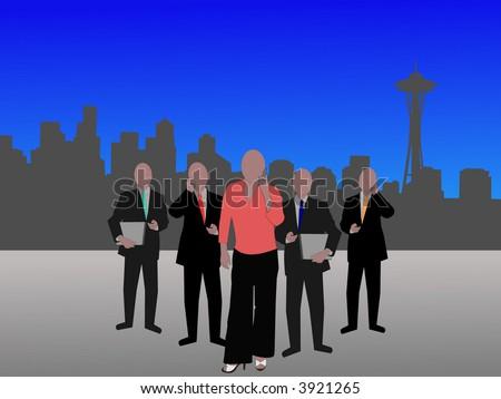 business team and Seattle Skyline illustration