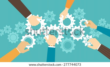 Business team and teamwork concept, business people joining gears together and composing a machine
