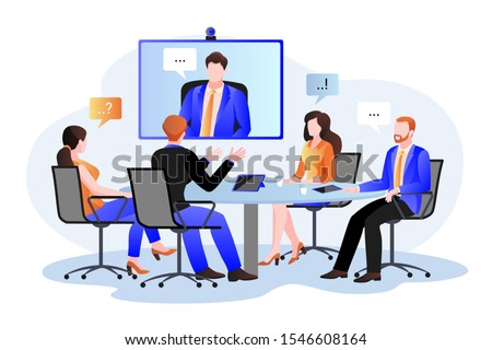 Business team at the video conference call in boardroom. Vector flat cartoon illustration. Online meeting with CEO, manager or director. Consulting and training concept.