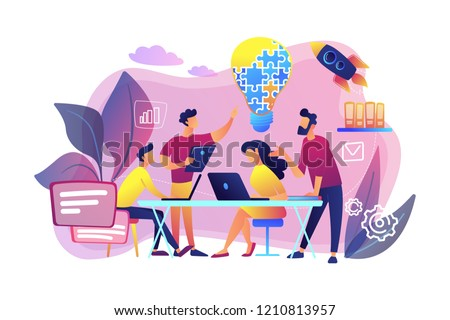 Business team brainstorm idea and lightbulb from jigsaw. Working team collaboration, enterprise cooperation, colleagues mutual assistance concept. Bright vibrant violet vector isolated illustration