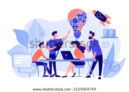 Business team brainstorm idea and lightbulb from jigsaw. Working team collaboration, enterprise cooperation, colleagues mutual assistance concept. Pinkish coral bluevector isolated illustration