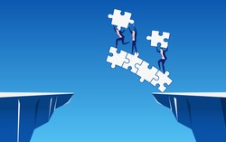 Business team building a puzzle bridge to cross through the gap between hill. Business Teamwork ,risk and success concept. Cartoon Vector Illustration.