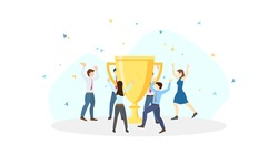 Business team celebration around big golden trophy for success in flat icon design on white color background