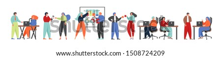 Business team characters discussing idea, debating, giving lecture, thinking, drinking coffee, working on laptop computers, vector flat isolated illustration. Teamwork, office scene collection.