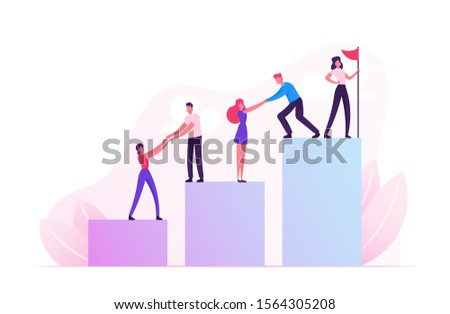 Business Team Climbing Up Column Chart with Leader Stand with Hoisted Red Flag on Top. Businessmen Pull Teammates Businesswomen to Peak Teamwork and Leadership Concept. Flat Vector Illustration