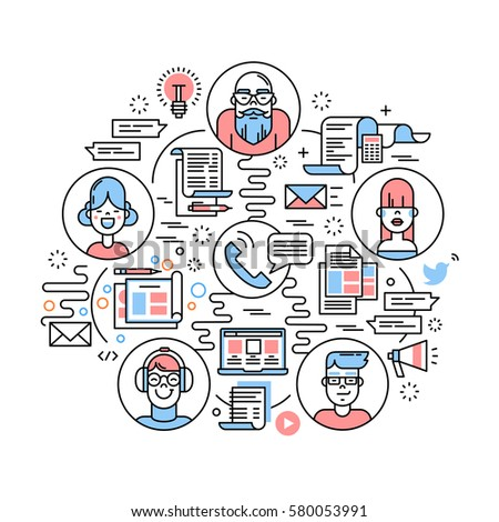 Business team communication and teamwork collaboration concept. Modern thin line icons art work collage. Startup company linear illustration isolated on white background.